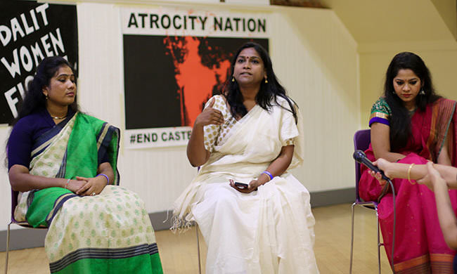 #dalitwomenfight. Asha Kowtal, center, with activists from #DalitWomenFight. Photo by Rucha Chitnis.