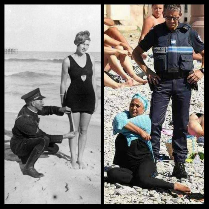 Even 100 years later women are still being policed on what they wear to the beach #BurkiniBan